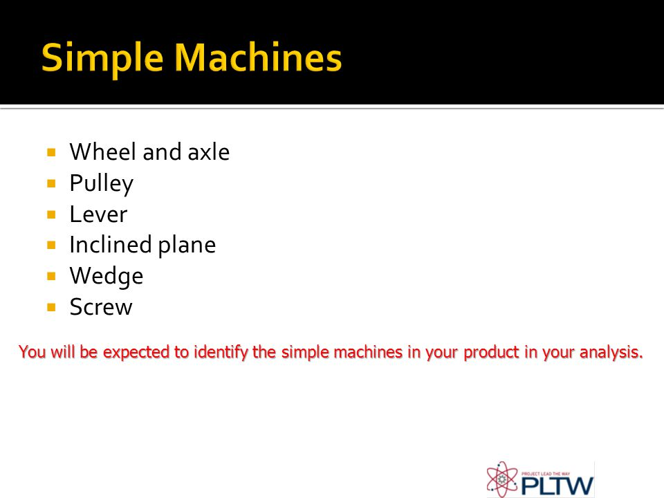  Wheel and axle  Pulley  Lever  Inclined plane  Wedge  Screw You will be expected to identify the simple machines in your product in your analysis.