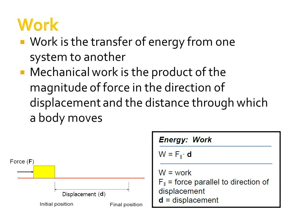  Work is the transfer of energy from one system to another  Mechanical work is the product of the magnitude of force in the direction of displacement and the distance through which a body moves Displacement