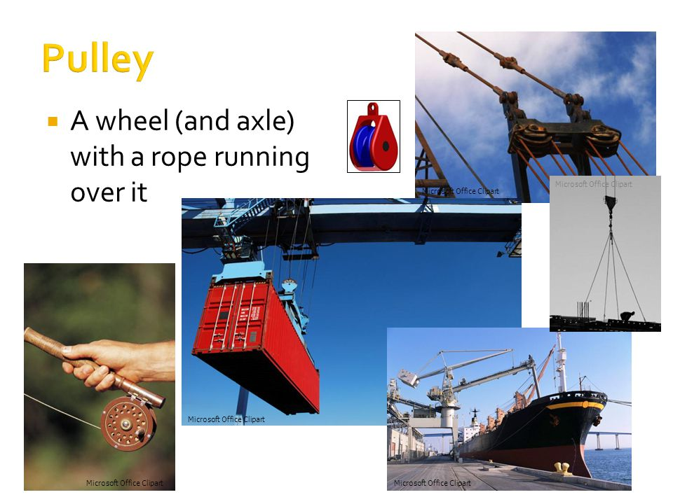  A wheel (and axle) with a rope running over it Microsoft Office Clipart