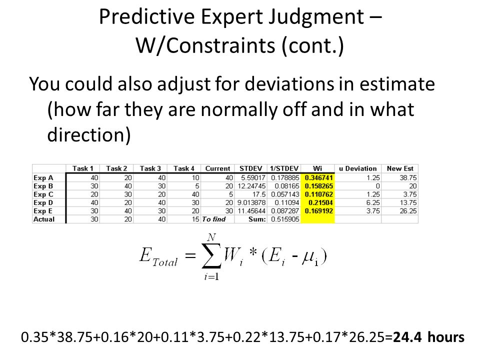 Predictive Expert Judgment – W/Constraints (cont.) You could also adjust for deviations in estimate (how far they are normally off and in what directi