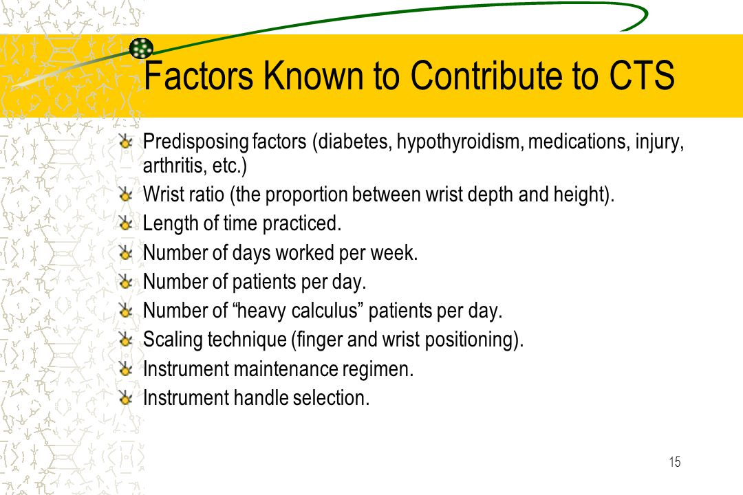 15 Factors Known to Contribute to CTS Predisposing factors (diabetes, hypothyroidism, medications, injury, arthritis, etc.) Wrist ratio (the proportion between wrist depth and height).