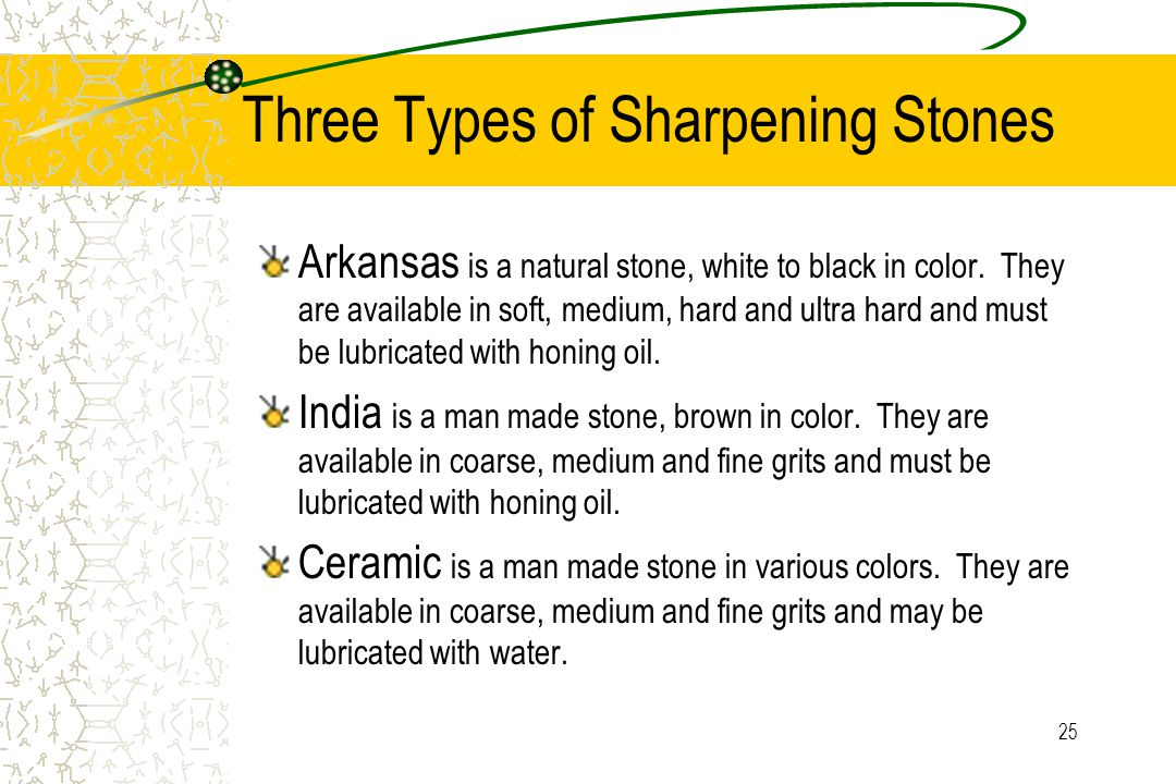 25 Three Types of Sharpening Stones Arkansas is a natural stone, white to black in color. They are available in soft, medium, hard and ultra hard and