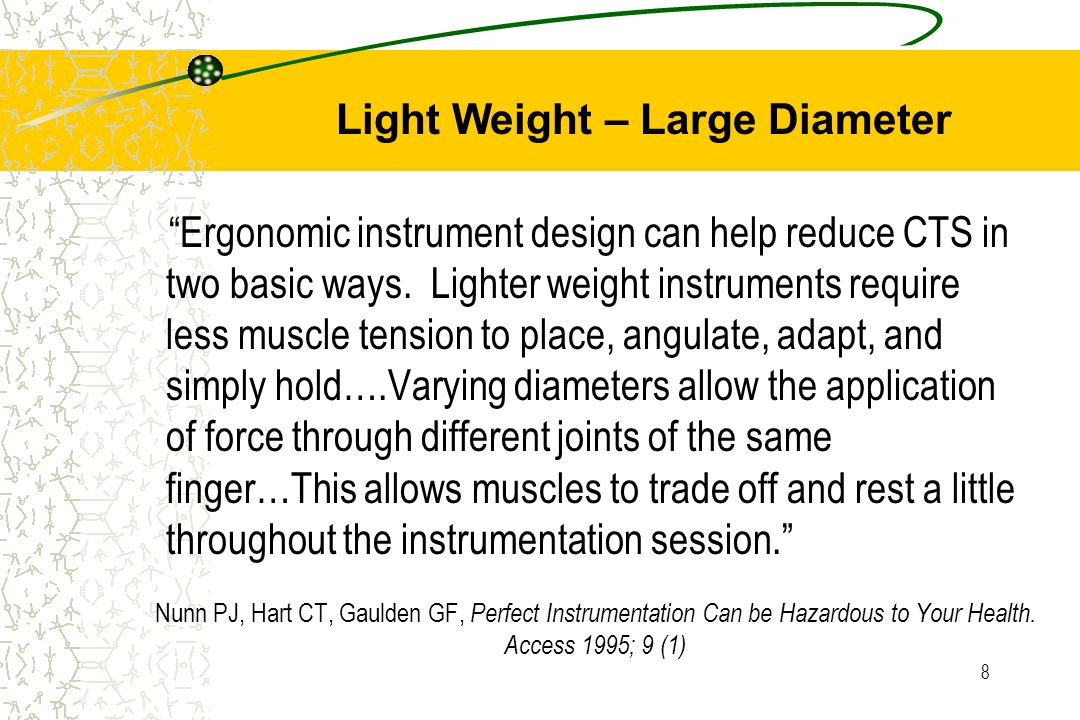 "8 Nunn PJ, Hart CT, Gaulden GF, Perfect Instrumentation Can be Hazardous to Your Health. Access 1995; 9 (1) ""Ergonomic instrument design can help redu"