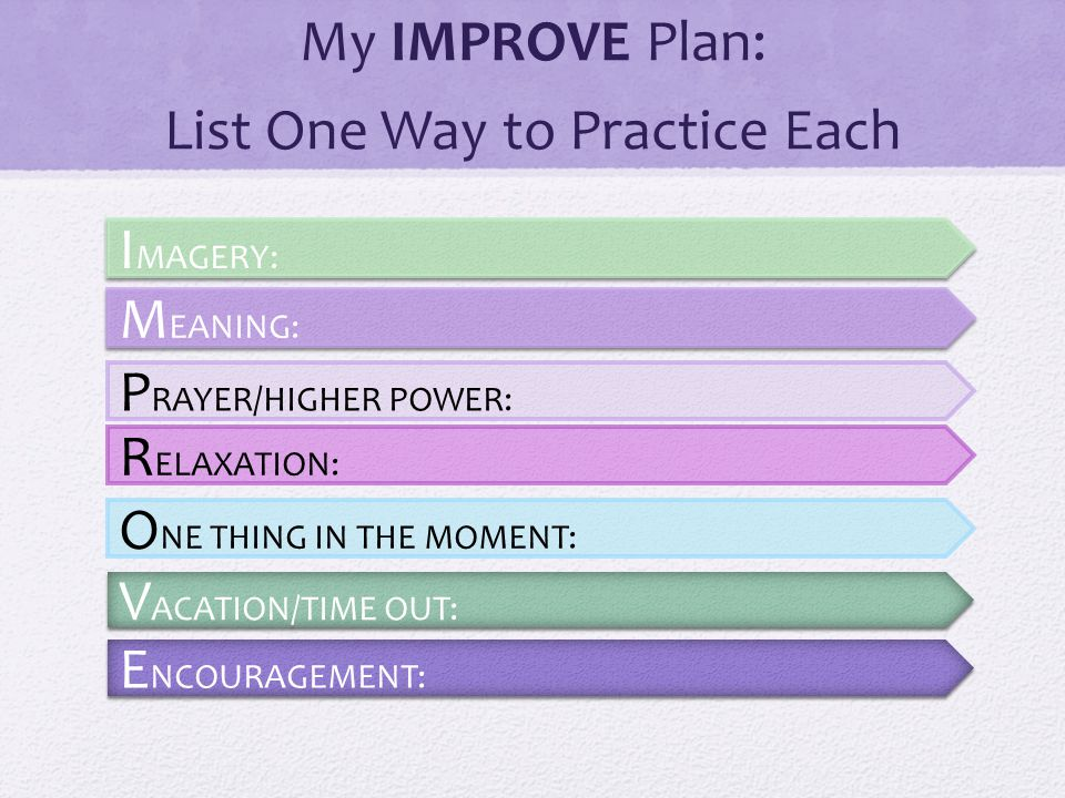 My IMPROVE Plan: List One Way to Practice Each I MAGERY: M EANING: P RAYER/HIGHER POWER: R ELAXATION: O NE THING IN THE MOMENT: V ACATION/TIME OUT: E