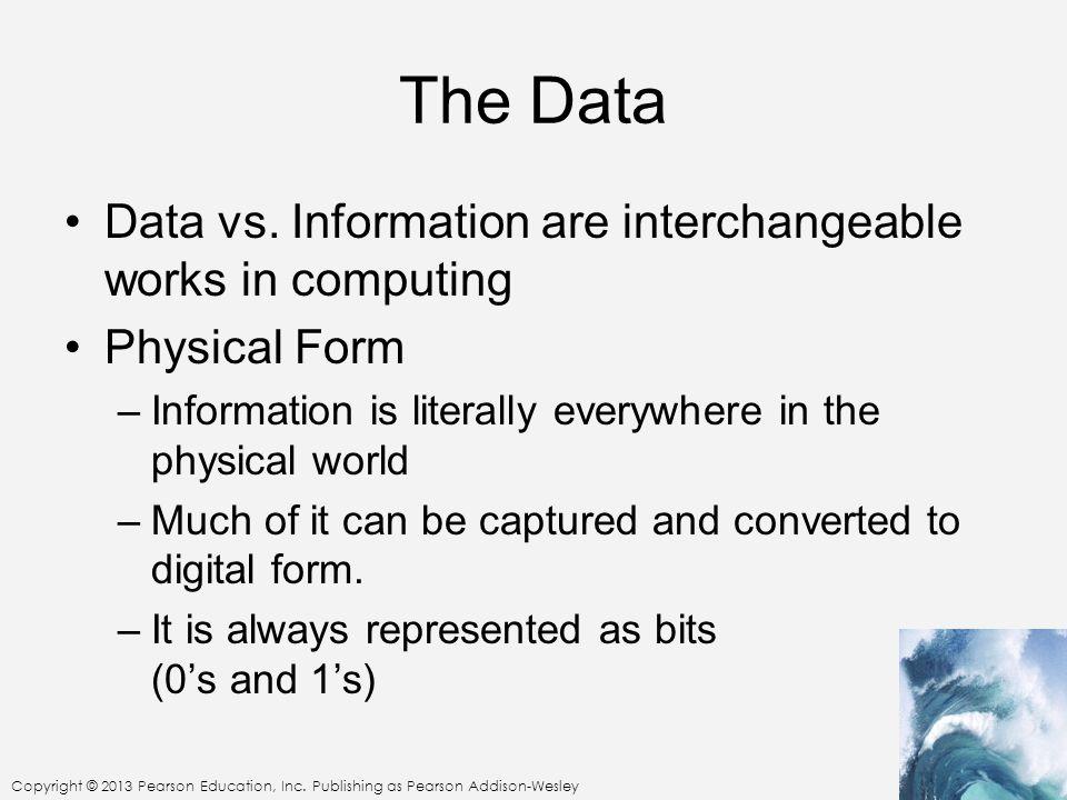 Copyright © 2013 Pearson Education, Inc. Publishing as Pearson Addison-Wesley The Data Data vs.