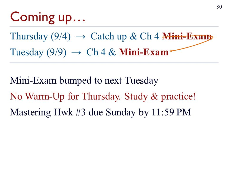 Coming up… Thursday (9/4) → Catch up & Ch 4 Mini-Exam Tuesday (9/9) → Ch 4 & Mini-Exam Mini-Exam bumped to next Tuesday No Warm-Up for Thursday. Study