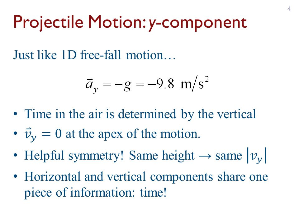 Projectile Motion: y-component 4