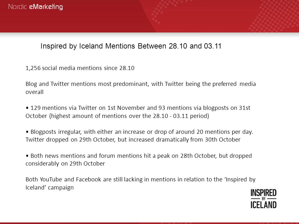 Inspired by Iceland Mentions Between 28.10 and 03.11 1,256 social media mentions since 28.10 Blog and Twitter mentions most predominant, with Twitter