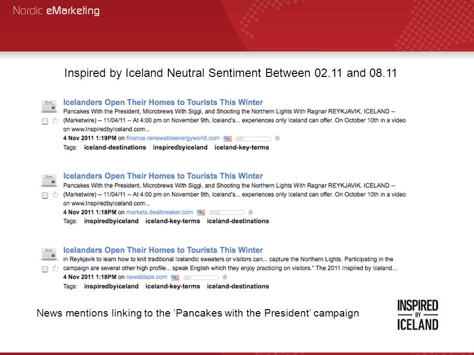 Inspired by Iceland Neutral Sentiment Between 02.11 and 08.11 News mentions linking to the 'Pancakes with the President' campaign