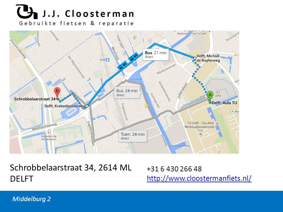 Middelburg 2 Schrobbelaarstraat 34, 2614 ML DELFT +31 6 430 266 48 http://www.cloostermanfiets.nl/