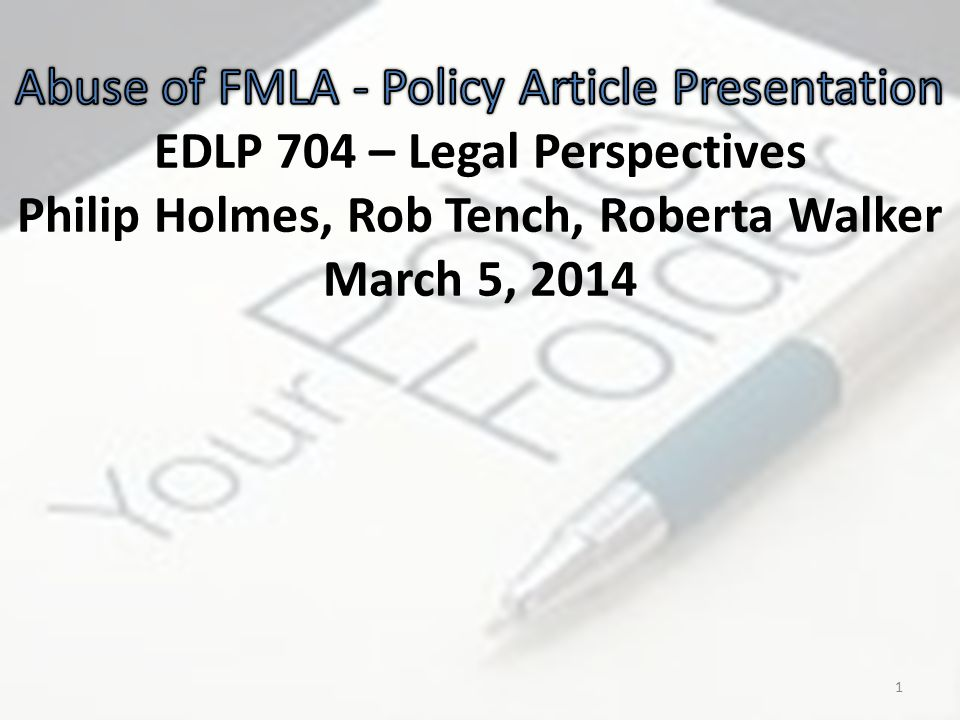 The article review revealed… the employer's capacity to take action concerning various types of FMLA abuse the value of policies, including those that prohibit falsification that surveillance videos, private investigators, Facebook, asking effective questions and placing phone calls are lawful, compelling and legitimate means of addressing FMLA abuse 22