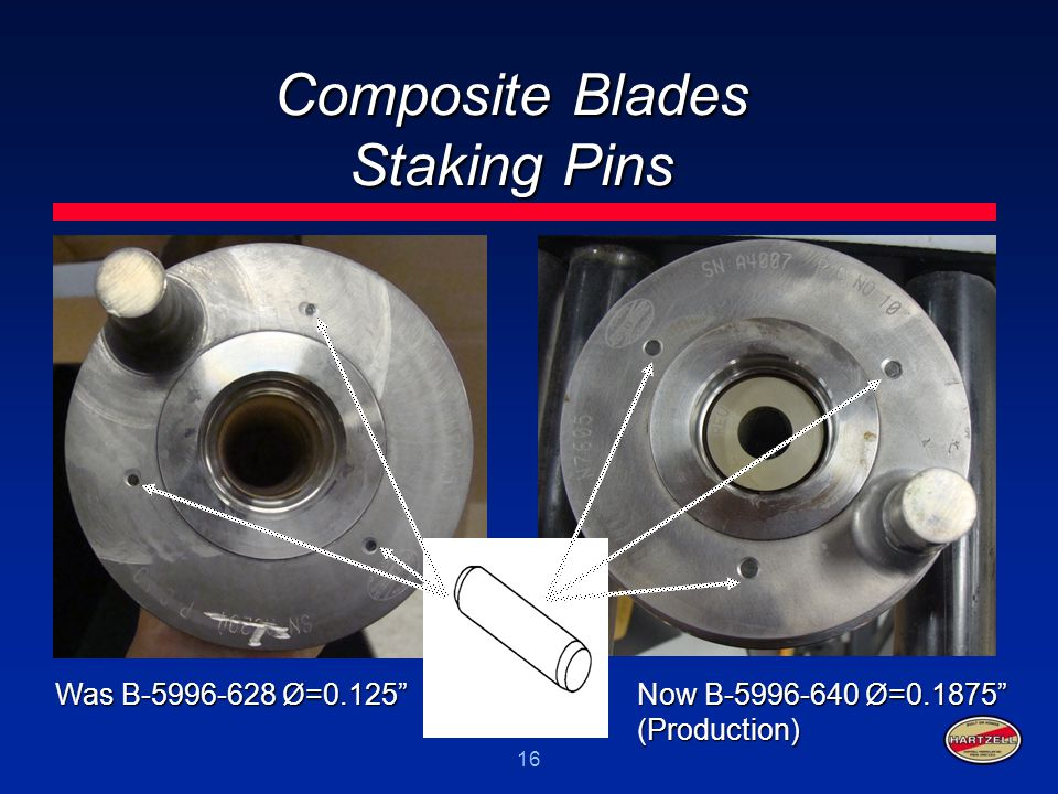 """16 Composite Blades Staking Pins Was B-5996-628 Ø=0.125"""" Now B-5996-640 Ø=0.1875"""" (Production)"""