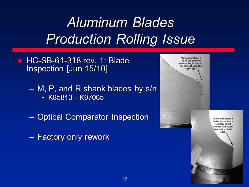 18 Aluminum Blades Production Rolling Issue HC-SB-61-318 rev. 1: Blade Inspection [Jun 15/10] HC-SB-61-318 rev. 1: Blade Inspection [Jun 15/10] –M, P,