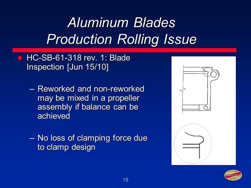 19 Aluminum Blades Production Rolling Issue HC-SB-61-318 rev. 1: Blade Inspection [Jun 15/10] HC-SB-61-318 rev. 1: Blade Inspection [Jun 15/10] –Rewor