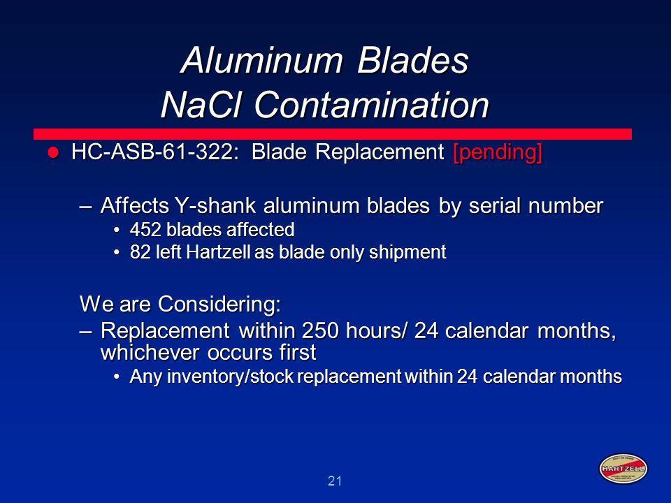 21 Aluminum Blades NaCl Contamination HC-ASB-61-322: Blade Replacement [pending] HC-ASB-61-322: Blade Replacement [pending] –Affects Y-shank aluminum