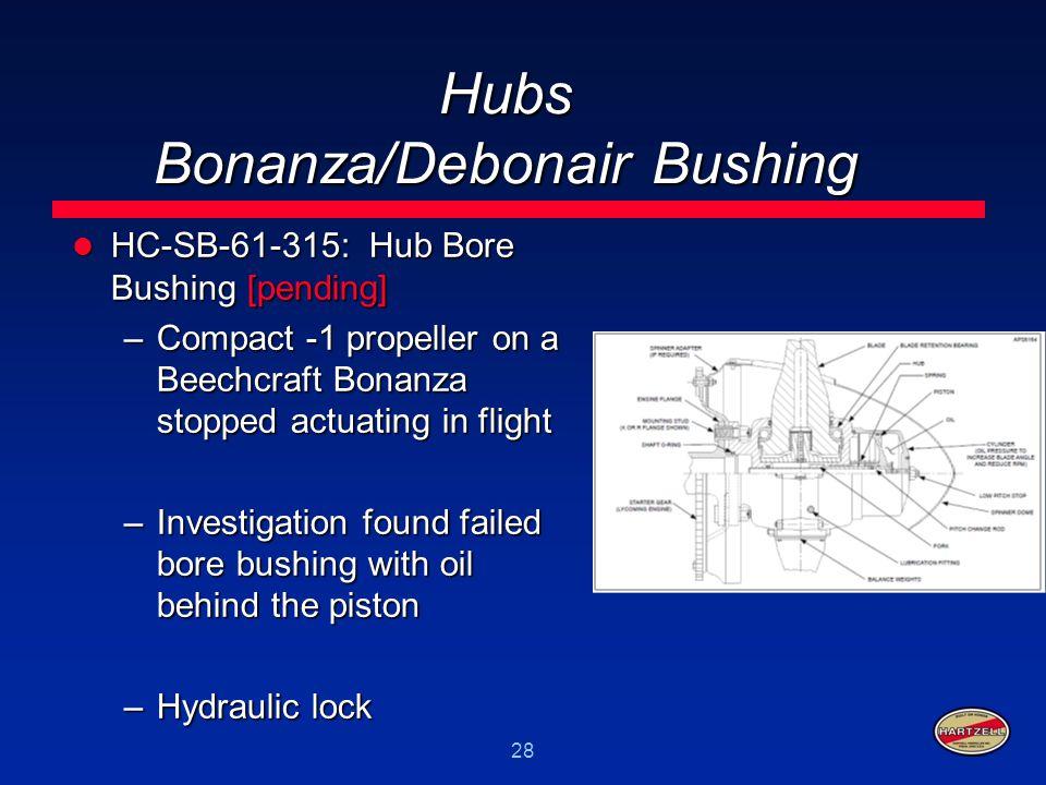 28 Hubs Bonanza/Debonair Bushing HC-SB-61-315: Hub Bore Bushing [pending] HC-SB-61-315: Hub Bore Bushing [pending] –Compact -1 propeller on a Beechcra