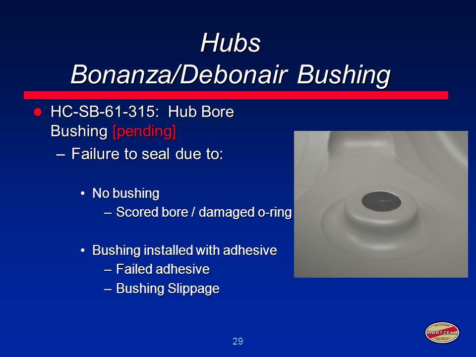 29 Hubs Bonanza/Debonair Bushing HC-SB-61-315: Hub Bore Bushing [pending] HC-SB-61-315: Hub Bore Bushing [pending] –Failure to seal due to: No bushing
