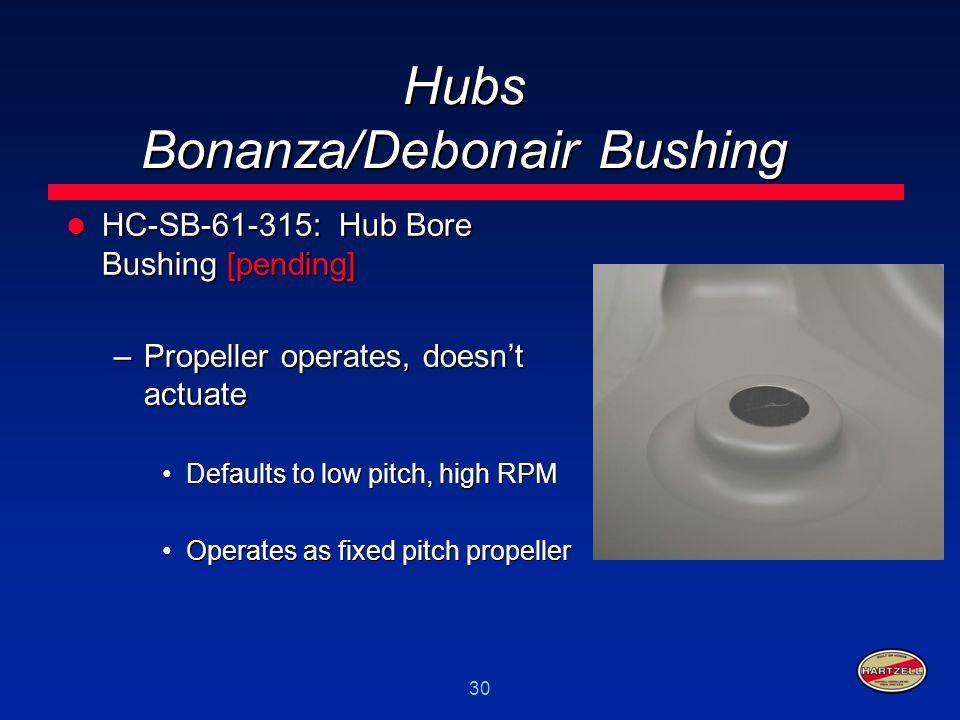 30 Hubs Bonanza/Debonair Bushing HC-SB-61-315: Hub Bore Bushing [pending] HC-SB-61-315: Hub Bore Bushing [pending] –Propeller operates, doesn't actuat