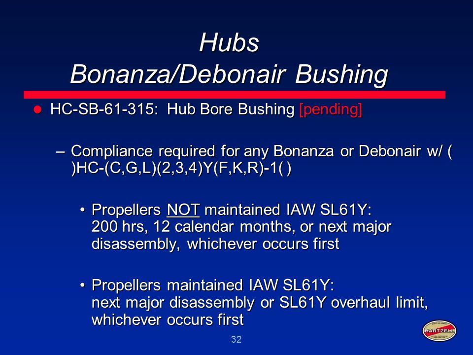 32 Hubs Bonanza/Debonair Bushing HC-SB-61-315: Hub Bore Bushing [pending] HC-SB-61-315: Hub Bore Bushing [pending] –Compliance required for any Bonanz