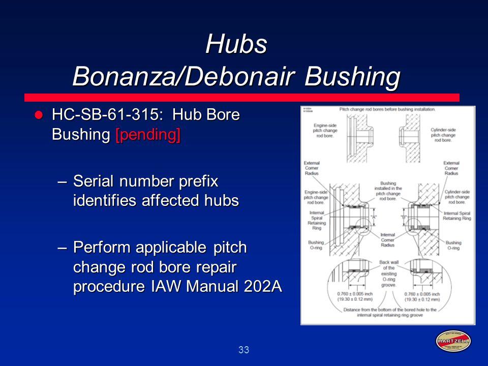 33 Hubs Bonanza/Debonair Bushing HC-SB-61-315: Hub Bore Bushing [pending] HC-SB-61-315: Hub Bore Bushing [pending] –Serial number prefix identifies af