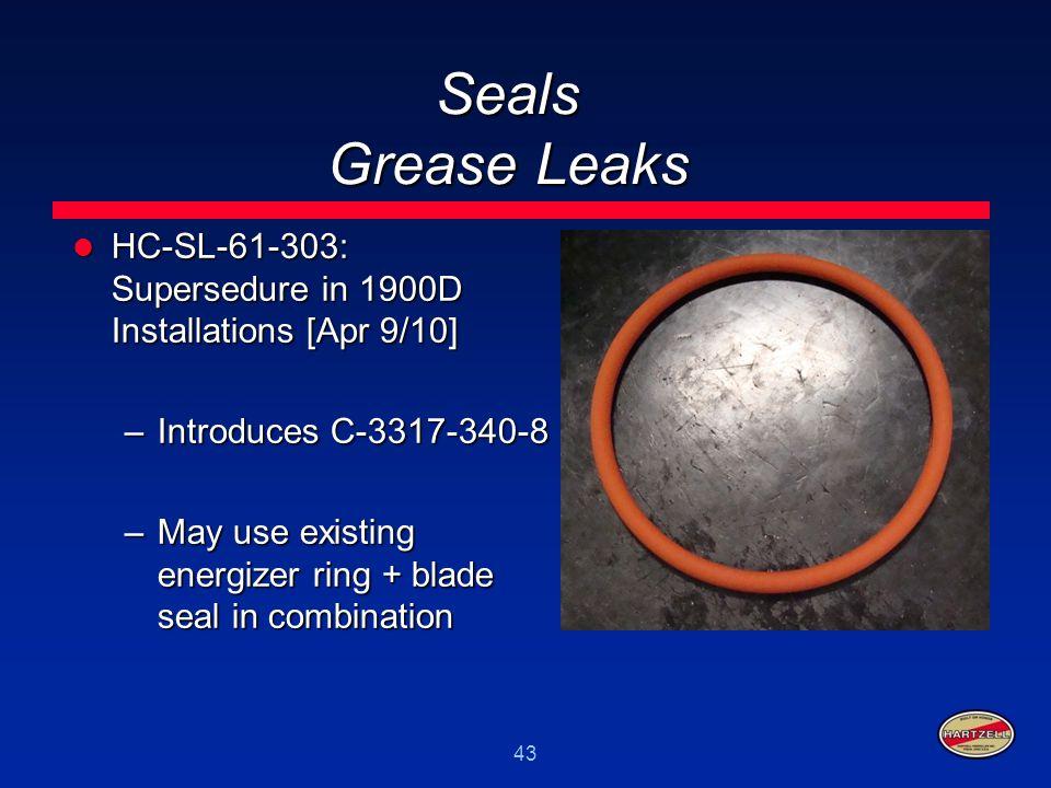 43 Seals Grease Leaks HC-SL-61-303: Supersedure in 1900D Installations [Apr 9/10] HC-SL-61-303: Supersedure in 1900D Installations [Apr 9/10] –Introdu