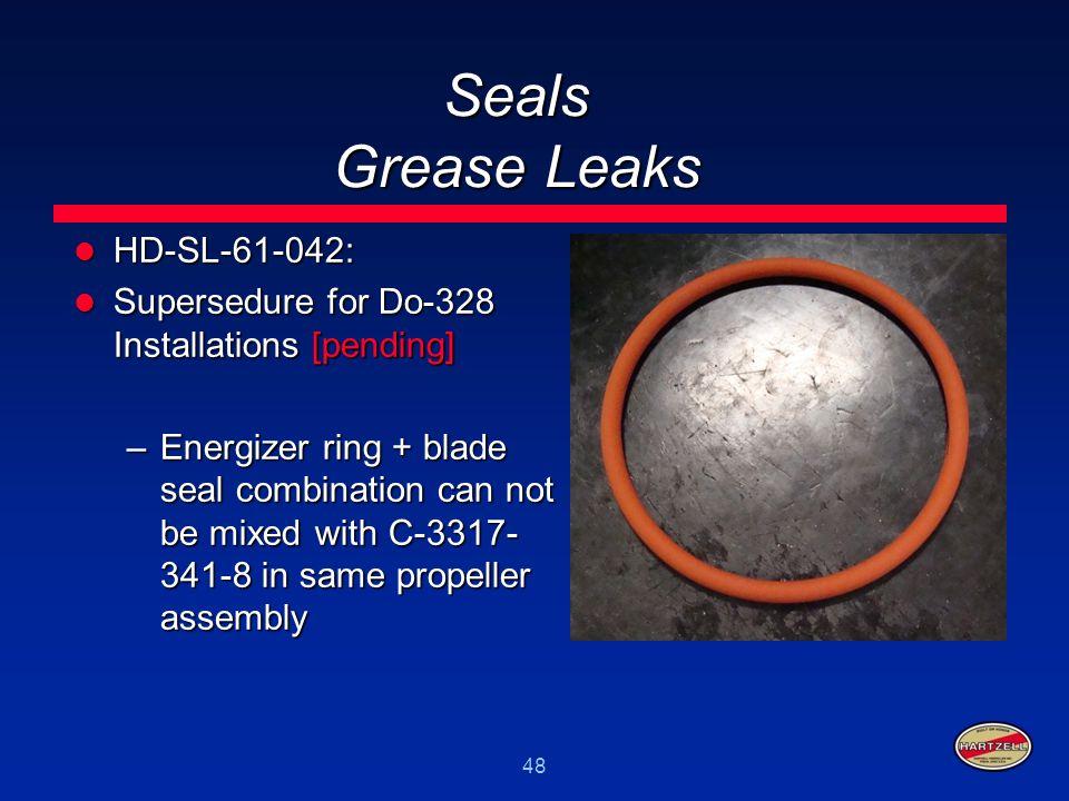 48 Seals Grease Leaks HD-SL-61-042: HD-SL-61-042: Supersedure for Do-328 Installations [pending] Supersedure for Do-328 Installations [pending] –Energ