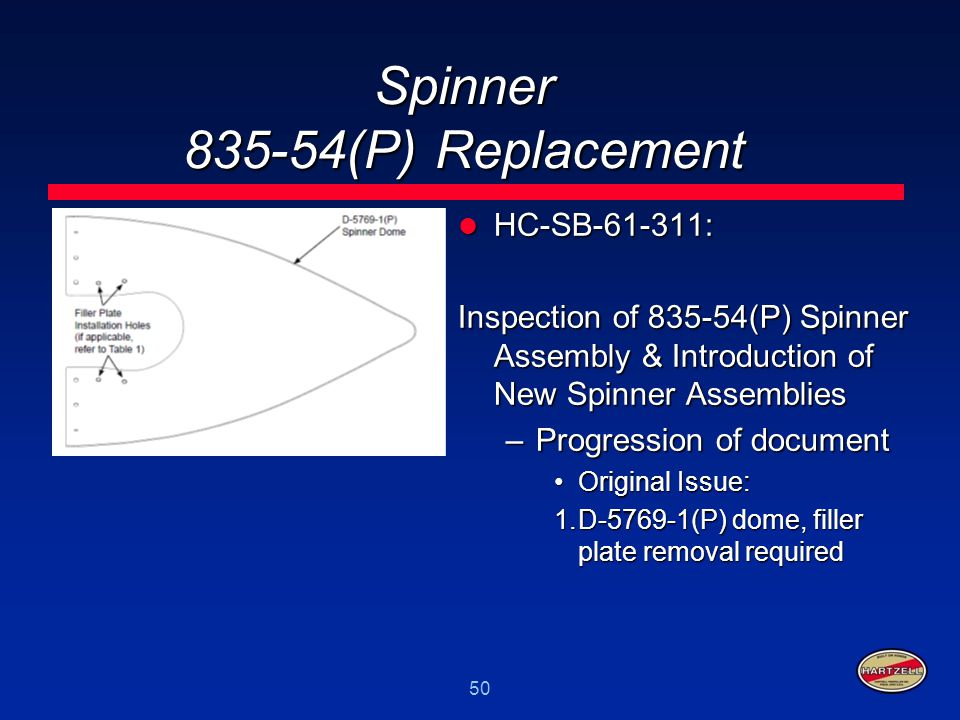 50 Spinner 835-54(P) Replacement HC-SB-61-311: HC-SB-61-311: Inspection of 835-54(P) Spinner Assembly & Introduction of New Spinner Assemblies –Progre