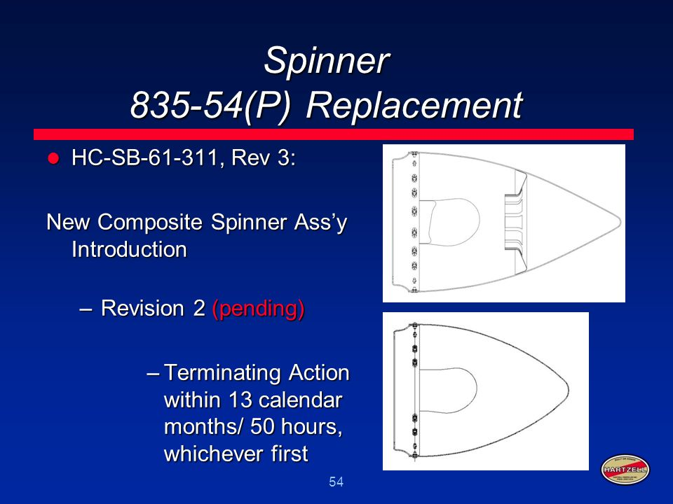 54 Spinner 835-54(P) Replacement HC-SB-61-311, Rev 3: HC-SB-61-311, Rev 3: New Composite Spinner Ass'y Introduction –Revision 2 (pending) –Terminating