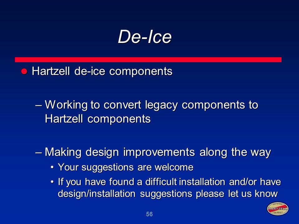 56 De-Ice Hartzell de-ice components Hartzell de-ice components –Working to convert legacy components to Hartzell components –Making design improvemen