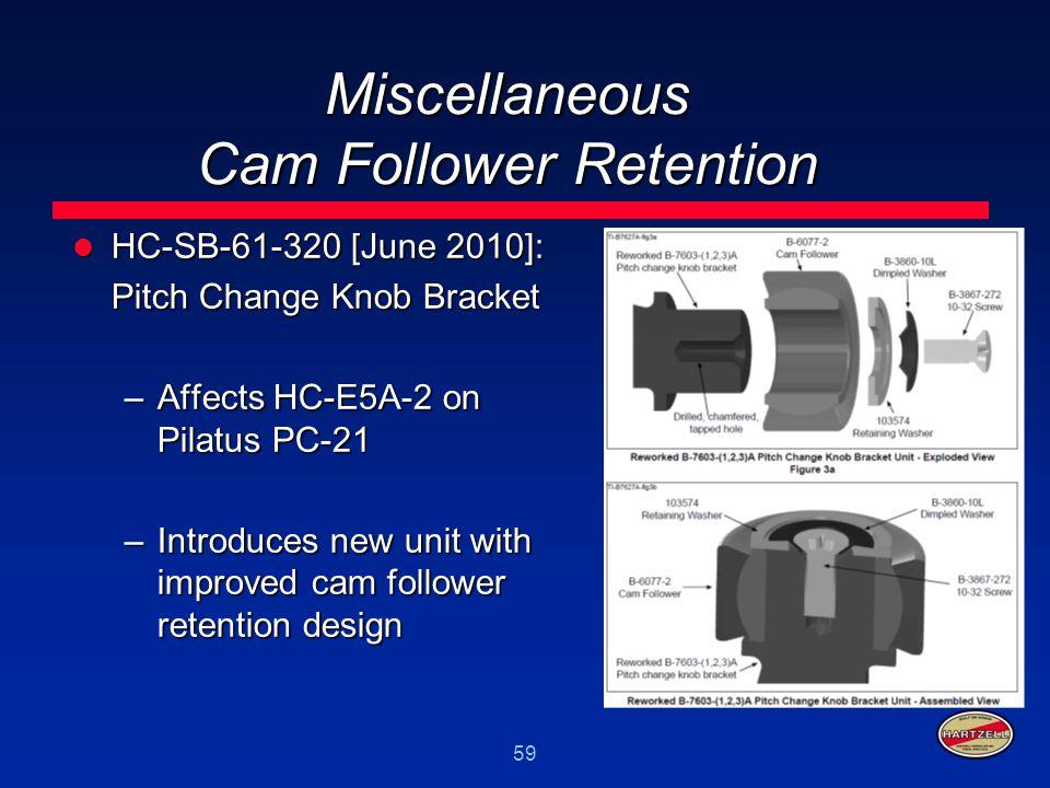 59 Miscellaneous Cam Follower Retention HC-SB-61-320 [June 2010]: HC-SB-61-320 [June 2010]: Pitch Change Knob Bracket –Affects HC-E5A-2 on Pilatus PC-