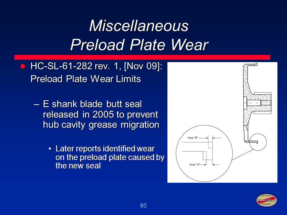 60 Miscellaneous Preload Plate Wear HC-SL-61-282 rev. 1, [Nov 09]: HC-SL-61-282 rev. 1, [Nov 09]: Preload Plate Wear Limits –E shank blade butt seal r