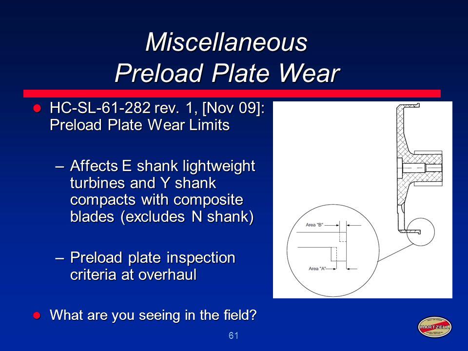 61 Miscellaneous Preload Plate Wear HC-SL-61-282 rev. 1, [Nov 09]: Preload Plate Wear Limits HC-SL-61-282 rev. 1, [Nov 09]: Preload Plate Wear Limits
