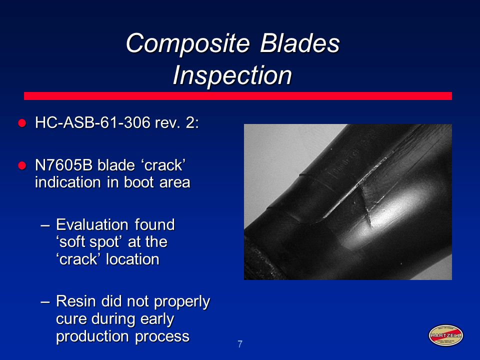 7 Composite Blades Inspection HC-ASB-61-306 rev. 2: HC-ASB-61-306 rev. 2: N7605B blade 'crack' indication in boot area N7605B blade 'crack' indication