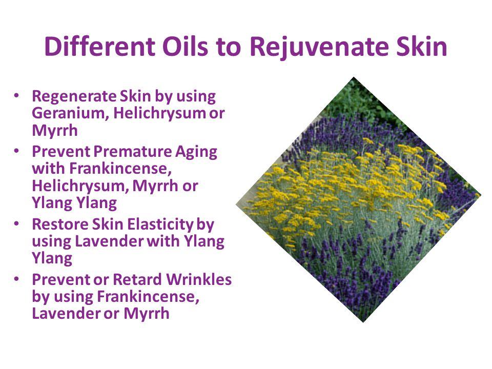 Different Oils to Rejuvenate Skin Regenerate Skin by using Geranium, Helichrysum or Myrrh Prevent Premature Aging with Frankincense, Helichrysum, Myrr