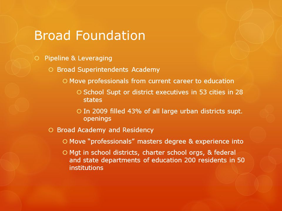 Broad Foundation  Pipeline & Leveraging  Broad Superintendents Academy  Move professionals from current career to education  School Supt or district executives in 53 cities in 28 states  In 2009 filled 43% of all large urban districts supt.
