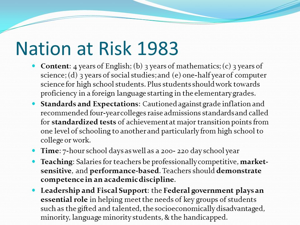  Standardized testing  Highly qualified teachers  Performance pay  School Choice  Accountability  Transformational management reconstitution  Convert to Charter  Takeover by Educational Management Organization  Merge  Close 2001 No Child Left Behind