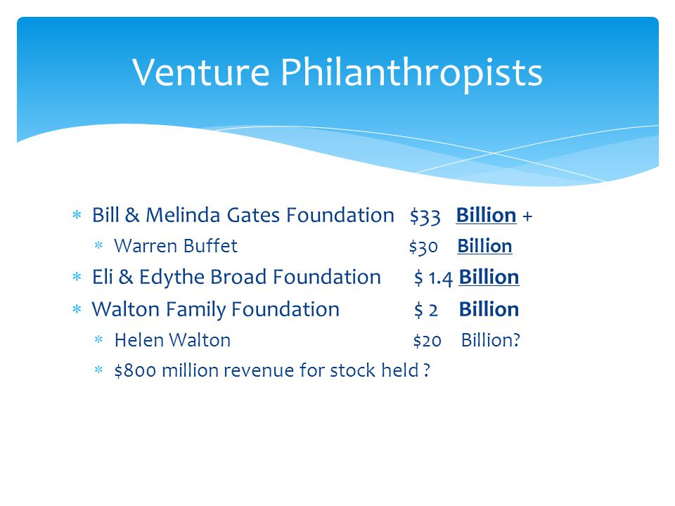  Health  Poverty  Education  All assets spent from Bill & Melinda Gates must be spent within 50 years of their death  All assets from Warren Buffett must be spent within 10 years of the settlement of his estate Gates Foundation