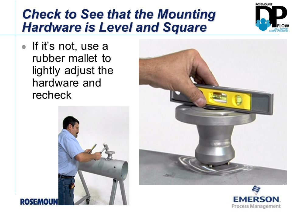 Check to See that the Mounting Hardware is Level and Square If it's not, use a rubber mallet to lightly adjust the hardware and recheck