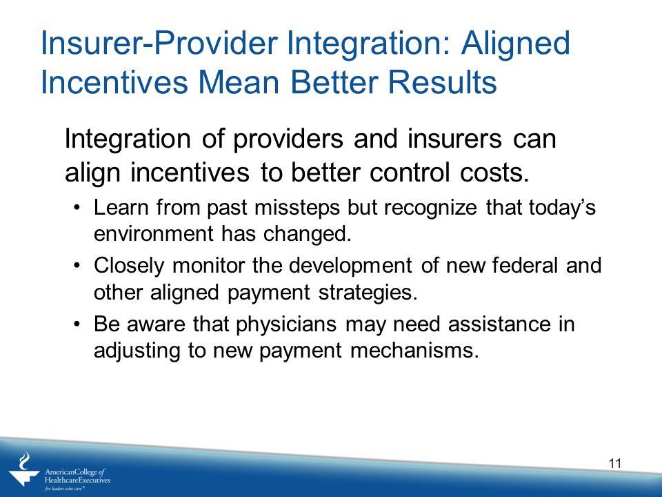 Insurer-Provider Integration: Aligned Incentives Mean Better Results Integration of providers and insurers can align incentives to better control cost