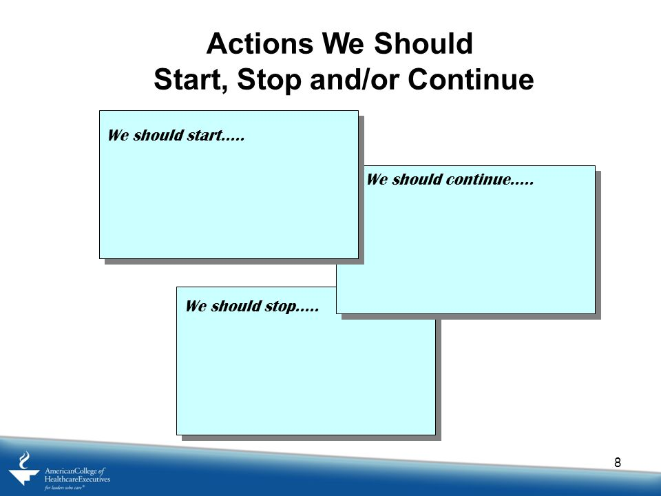 8 Actions We Should Start, Stop and/or Continue We should start.....