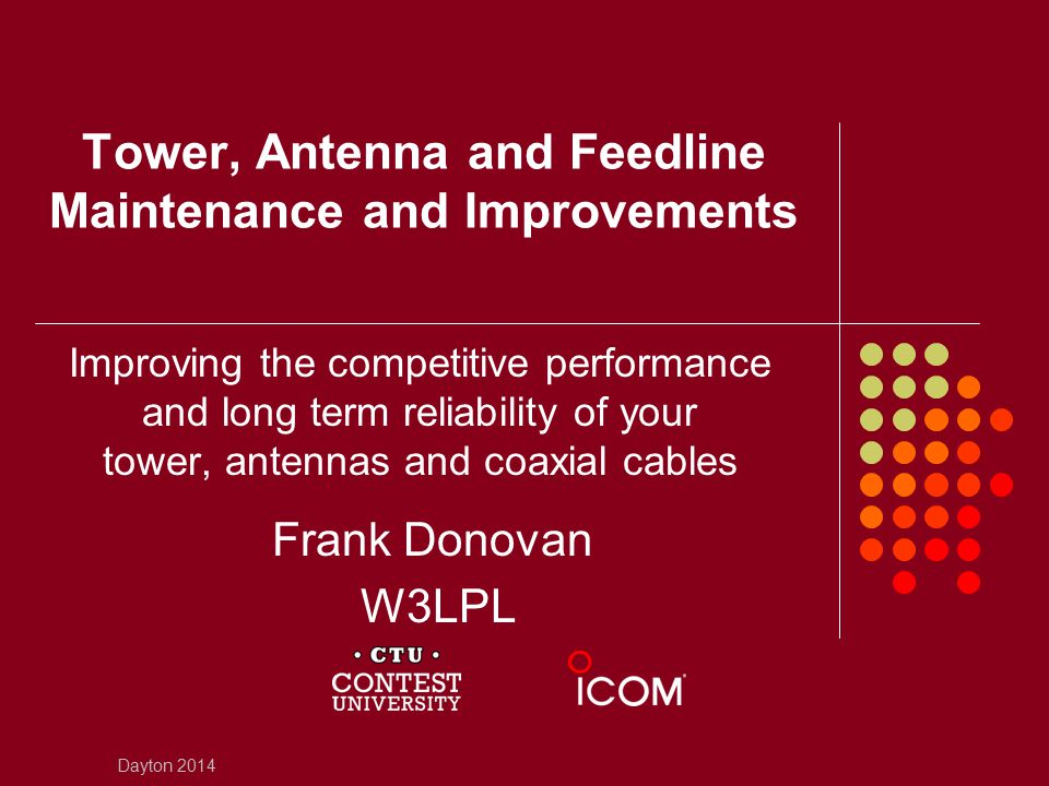 Tower, Antenna and Feedline Maintenance and Improvements Improving the competitive performance and long term reliability of your tower, antennas and c