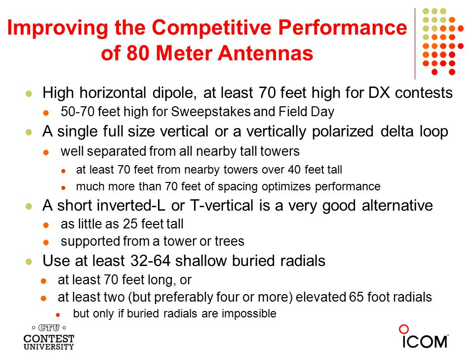 Improving the Competitive Performance of 80 Meter Antennas High horizontal dipole, at least 70 feet high for DX contests 50-70 feet high for Sweepstak