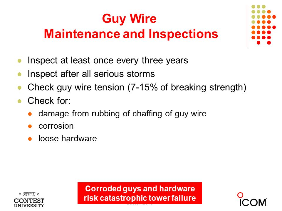 Inspect at least once every three years Inspect after all serious storms Check guy wire tension (7-15% of breaking strength) Check for: damage from ru