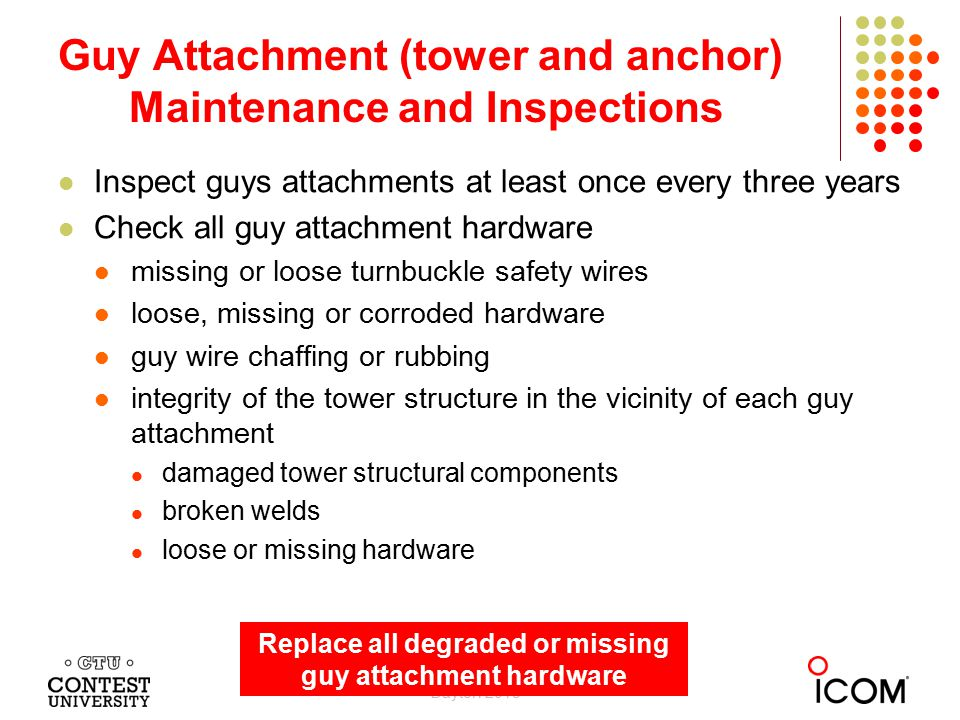 Inspect guys attachments at least once every three years Check all guy attachment hardware missing or loose turnbuckle safety wires loose, missing or