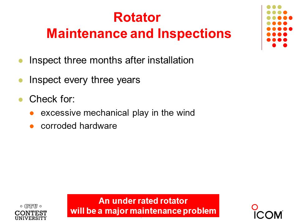 Inspect three months after installation Inspect every three years Check for: excessive mechanical play in the wind corroded hardware Rotator Maintenan