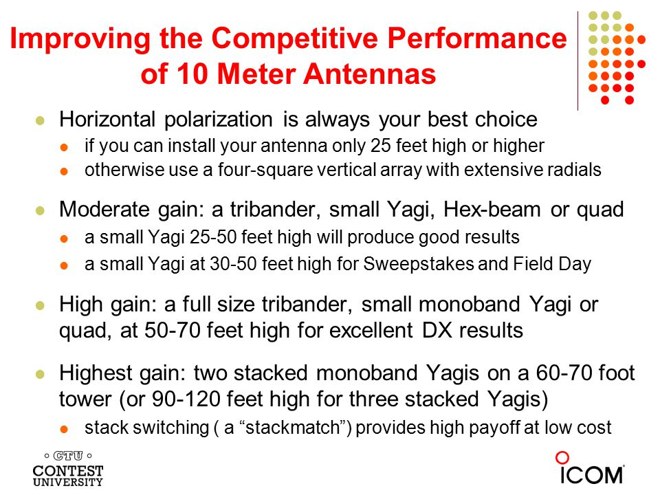 Improving the Competitive Performance of 10 Meter Antennas Horizontal polarization is always your best choice if you can install your antenna only 25