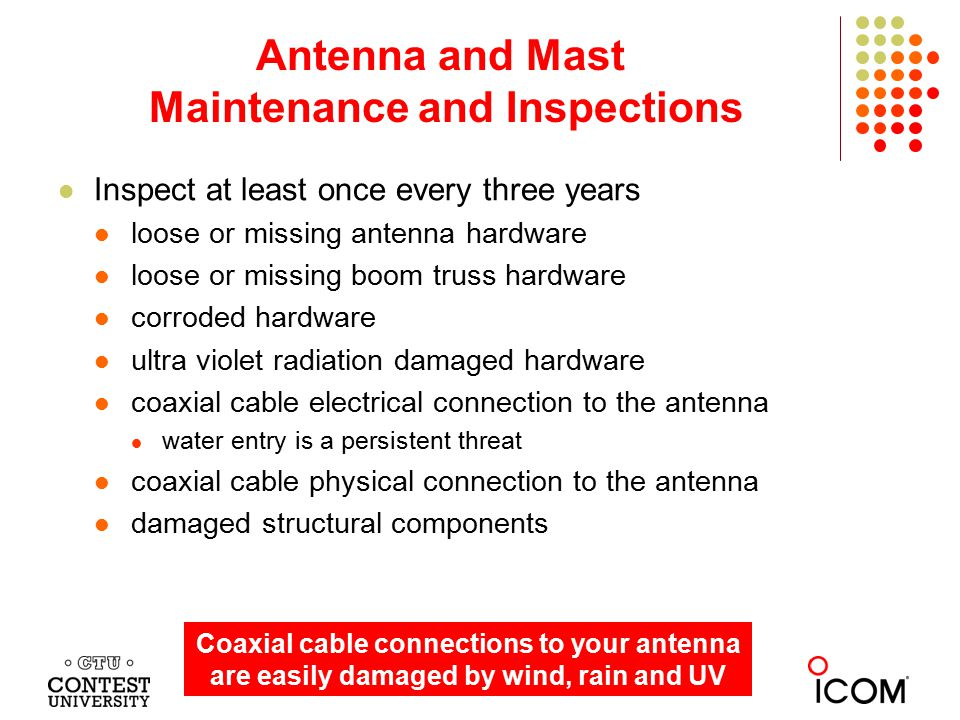 Inspect at least once every three years loose or missing antenna hardware loose or missing boom truss hardware corroded hardware ultra violet radiatio