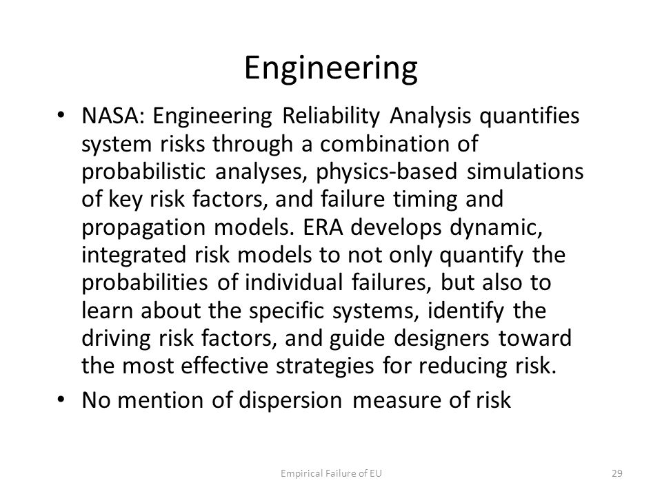 Engineering NASA: Engineering Reliability Analysis quantifies system risks through a combination of probabilistic analyses, physics-based simulations