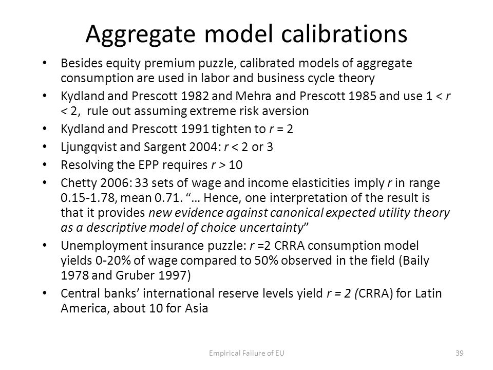 Aggregate model calibrations Besides equity premium puzzle, calibrated models of aggregate consumption are used in labor and business cycle theory Kyd