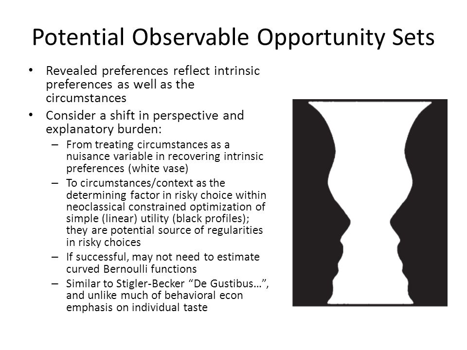 Potential Observable Opportunity Sets Revealed preferences reflect intrinsic preferences as well as the circumstances Consider a shift in perspective